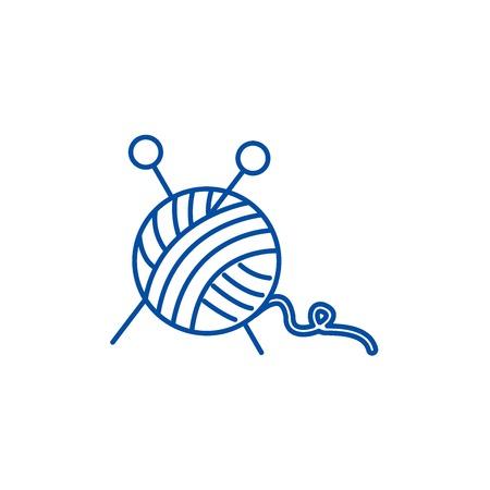 Sewing,ball of yarn,knitting needles line concept icon. Sewing,ball of yarn,knitting needles flat  vector website sign, outline symbol, illustration. Ilustração