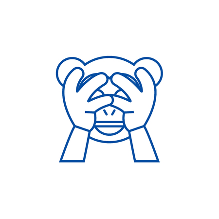See no evil emoji line concept icon. See no evil emoji flat  vector website sign, outline symbol, illustration. Banque d'images - 120024326