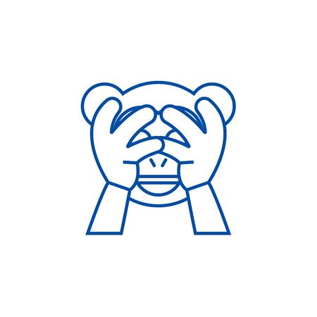 See no evil emoji line concept icon. See no evil emoji flat  vector website sign, outline symbol, illustration.