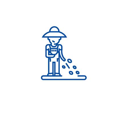 Seeding plants line concept icon. Seeding plants flat  vector website sign, outline symbol, illustration. Illustration