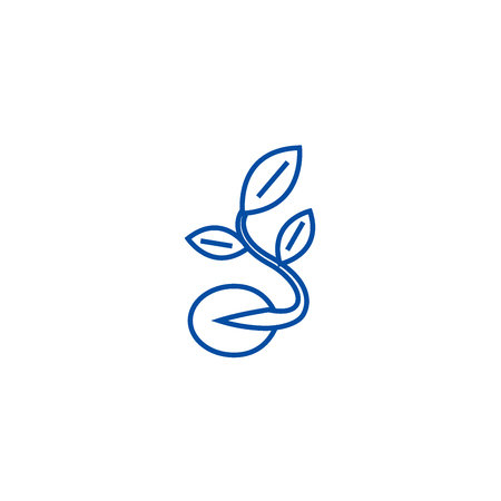 Seeds,grow plant line concept icon. Seeds,grow plant flat  vector website sign, outline symbol, illustration.