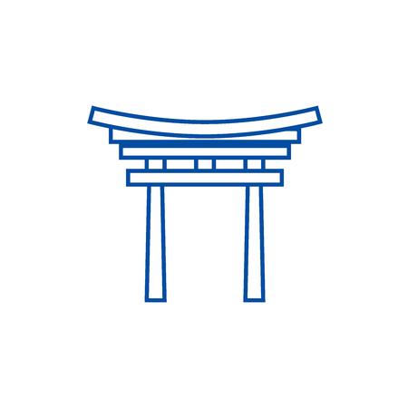 Shinto line concept icon. Shinto flat  vector website sign, outline symbol, illustration.