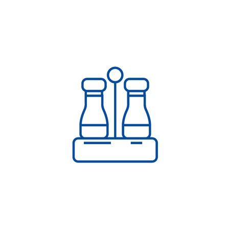 Seasoning,salt and pepper line concept icon. Seasoning,salt and pepper flat  vector website sign, outline symbol, illustration.