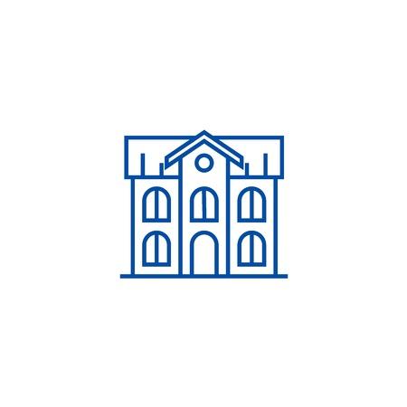 School building line concept icon. School building flat  vector website sign, outline symbol, illustration. Illustration
