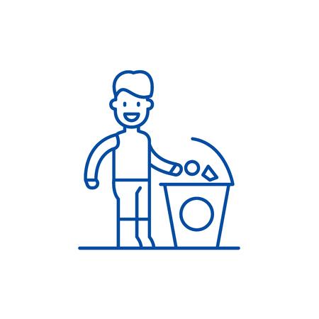 Trennen Sie das Symbol für das Konzept des Papierkorbs. Separater Müll flacher Vektor-Website-Schild, Umrisssymbol, Illustration. Vektorgrafik