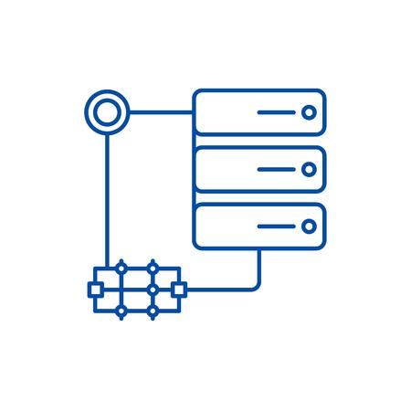 Server technology line concept icon. Server technology flat  vector website sign, outline symbol, illustration. Stock Vector - 120024486