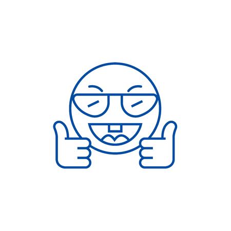 Showing ok emoji line concept icon. Showing ok emoji flat  vector website sign, outline symbol, illustration.