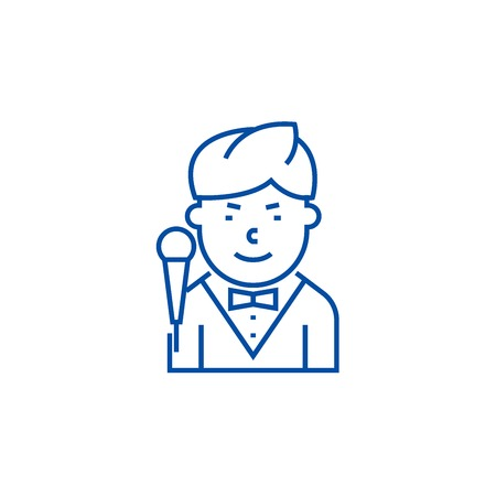 Showman line concept icon. Showman flat  vector website sign, outline symbol, illustration.