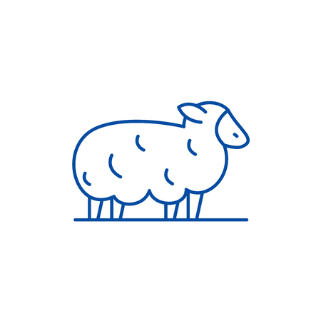 Sheep line concept icon. Sheep flat  vector website sign, outline symbol, illustration. Çizim