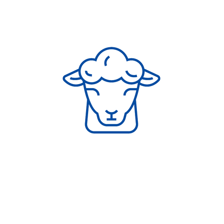 Sheep farm line concept icon. Sheep farm flat  vector website sign, outline symbol, illustration.