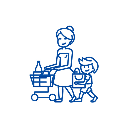 Shopping grocery,mother with son  line concept icon. Shopping grocery,mother with son  flat  vector website sign, outline symbol, illustration.