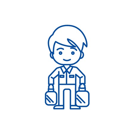 Shopping man taking bags line concept icon. Shopping man taking bags flat  vector website sign, outline symbol, illustration. Illustration