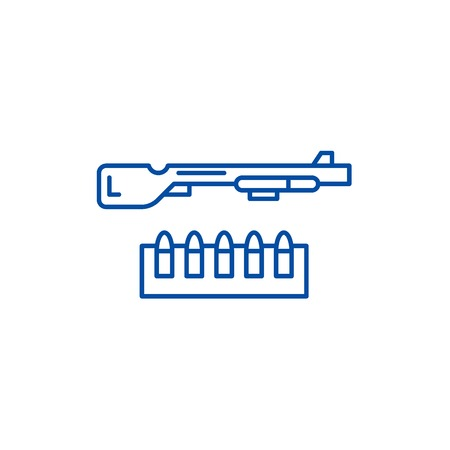 Shotgun and ammo line concept icon. Shotgun and ammo flat  vector website sign, outline symbol, illustration.  イラスト・ベクター素材