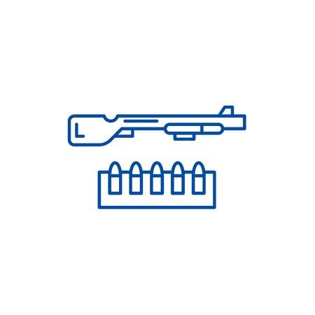 Shotgun and ammo line concept icon. Shotgun and ammo flat  vector website sign, outline symbol, illustration. Illustration