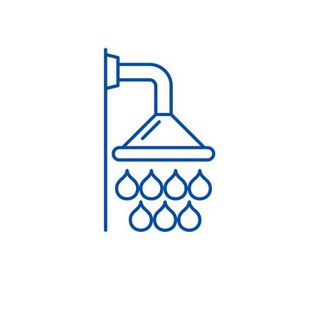 Shower line concept icon. Shower flat  vector website sign, outline symbol, illustration.