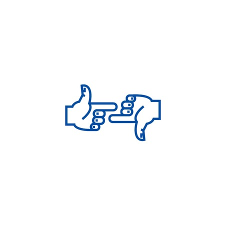 Self blame,hands pointer line concept icon. Self blame,hands pointer flat  vector website sign, outline symbol, illustration. Ilustração