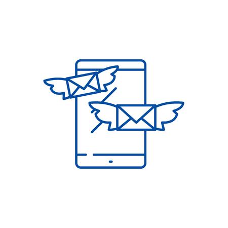 Sending messages line concept icon. Sending messages flat  vector website sign, outline symbol, illustration.