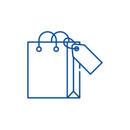 Shopping package line concept icon. Shopping package flat vector website sign, outline symbol, illustration. Ilustração Vetorial