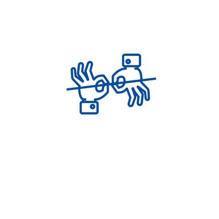Sign language interpretation line concept icon. Sign language interpretation flat  vector website sign, outline symbol, illustration. Illustration