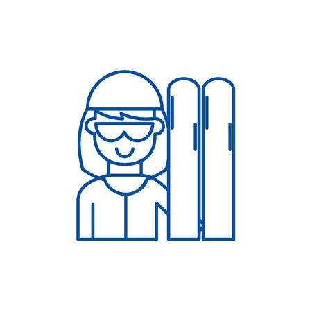 Skier line concept icon. Skier flat  vector website sign, outline symbol, illustration. Çizim