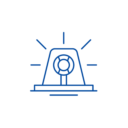Signal light line concept icon. Signal light flat  vector website sign, outline symbol, illustration.