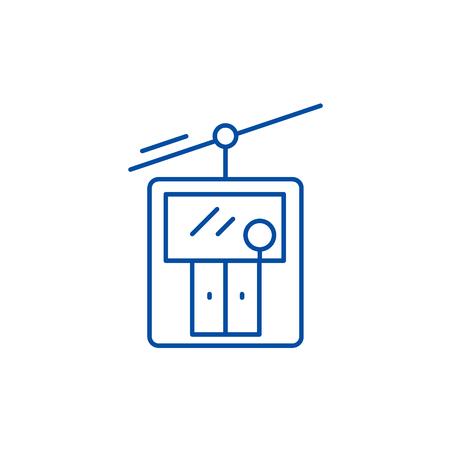 Ski elevator line concept icon. Ski elevator flat  vector website sign, outline symbol, illustration. Illustration