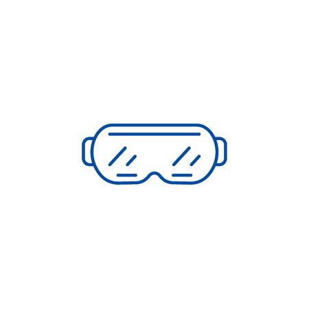 Ski goggles line concept icon. Ski goggles flat  vector website sign, outline symbol, illustration. Illustration