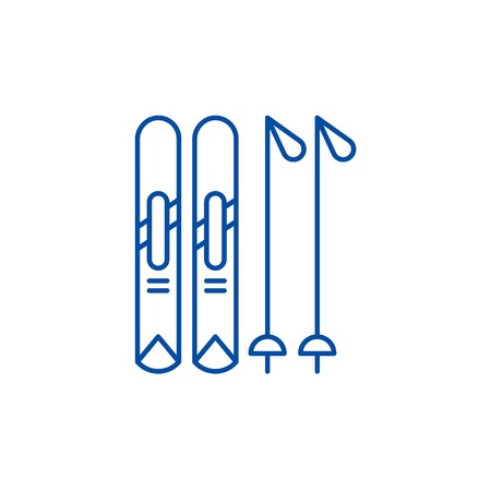 Skiing play line concept icon. Skiing play flat  vector website sign, outline symbol, illustration.