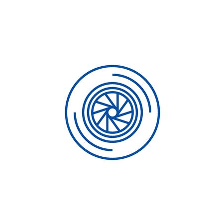 Shutter camera  line concept icon. Shutter camera  flat  vector website sign, outline symbol, illustration.