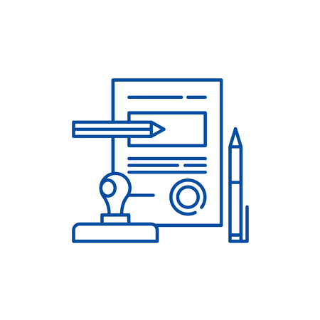 Signing a contract line concept icon. Signing a contract flat  vector website sign, outline symbol, illustration.