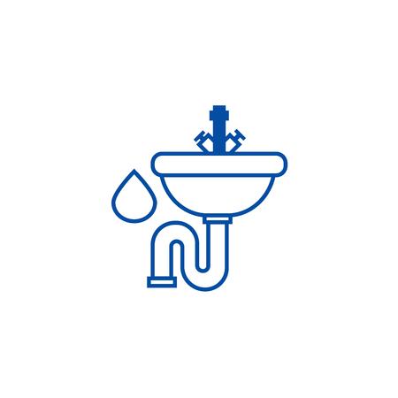 Sink line concept icon. Sink flat  vector website sign, outline symbol, illustration. Illustration
