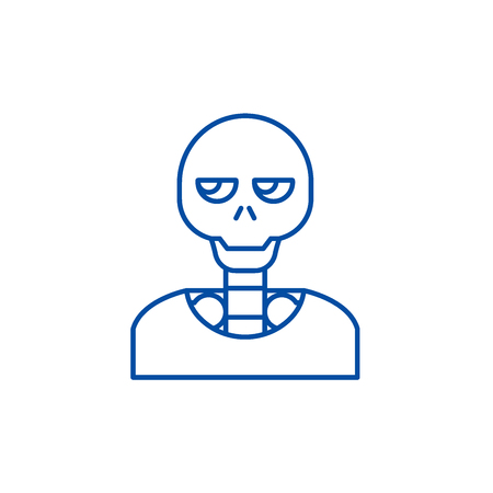 Skeleton line concept icon. Skeleton flat  vector website sign, outline symbol, illustration.