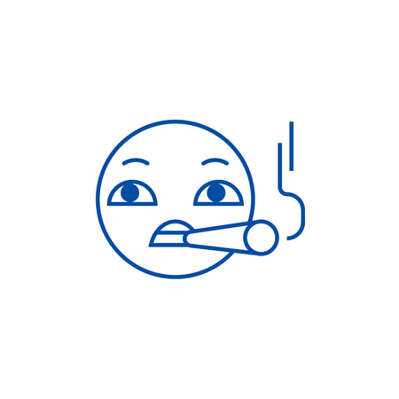 Smoking emoji line concept icon. Smoking emoji flat  vector website sign, outline symbol, illustration. Illustration