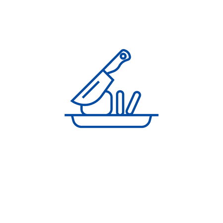 Slicing food line concept icon. Slicing food flat  vector website sign, outline symbol, illustration.