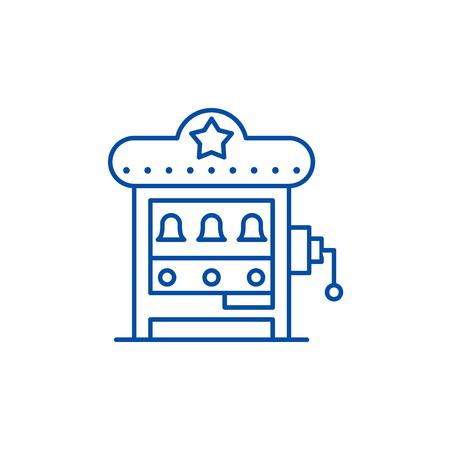 Slot machine line concept icon. Slot machine flat  vector website sign, outline symbol, illustration.