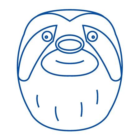 Sloth head line concept icon. Sloth head flat  vector website sign, outline symbol, illustration.