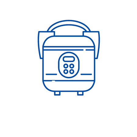 Slow cooker line concept icon. Slow cooker flat  vector website sign, outline symbol, illustration.