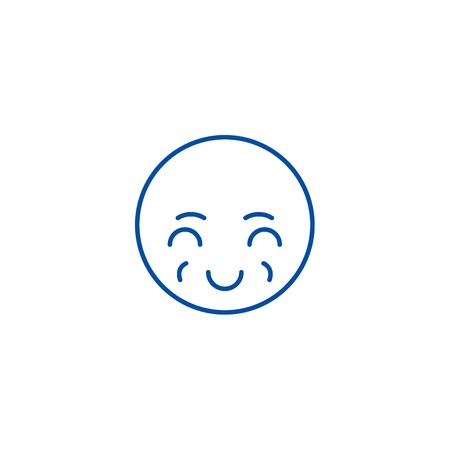 Sly emoji line concept icon. Sly emoji flat  vector website sign, outline symbol, illustration.