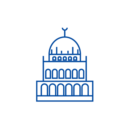 Small mosque  line concept icon. Small mosque  flat  vector website sign, outline symbol, illustration. Banque d'images - 119920969