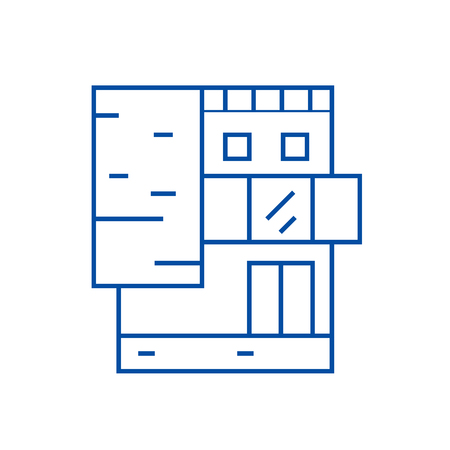 Small office building line concept icon. Small office building flat  vector website sign, outline symbol, illustration.