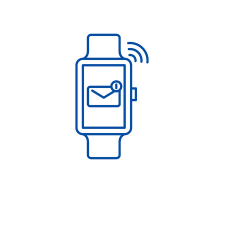 Smart watch line concept icon. Smart watch flat  vector website sign, outline symbol, illustration.