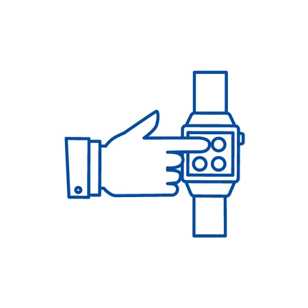 Smart watch,hand touching watch line concept icon. Smart watch,hand touching watch flat  vector website sign, outline symbol, illustration. Illustration