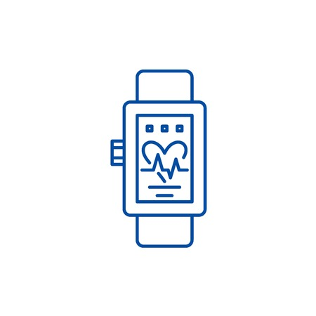 Smart watches line concept icon. Smart watches flat  vector website sign, outline symbol, illustration. Banque d'images - 119920992