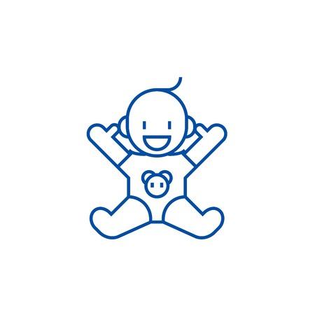 Smile newborn with opened hands  line concept icon. Smile newborn with opened hands  flat  vector website sign, outline symbol, illustration.
