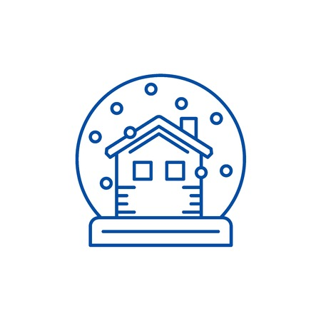 Snow globe with house line concept icon. Snow globe with house flat  vector website sign, outline symbol, illustration.