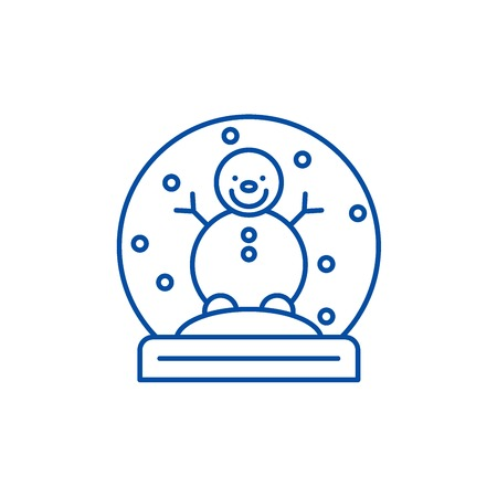 Snow globe with snowman line concept icon. Snow globe with snowman flat  vector website sign, outline symbol, illustration. Illustration