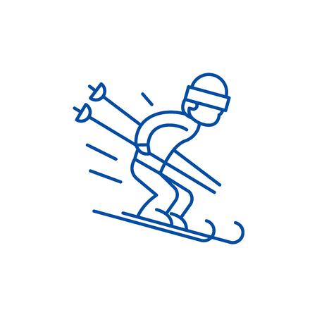 Icono de concepto de línea de esquí de nieve. Esquí en la nieve sitio web vector plano signo, símbolo de contorno, Ilustración.