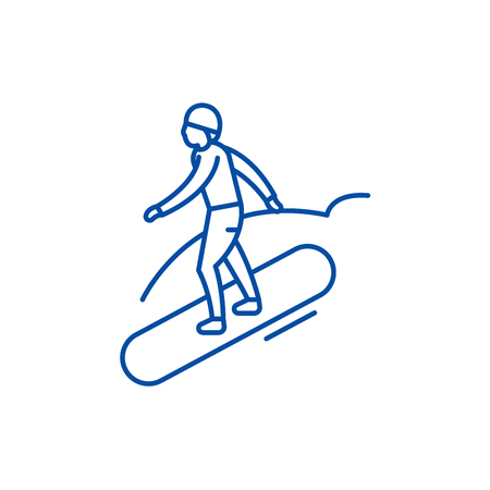 Snowboard line concept icon. Snowboard flat  vector website sign, outline symbol, illustration.