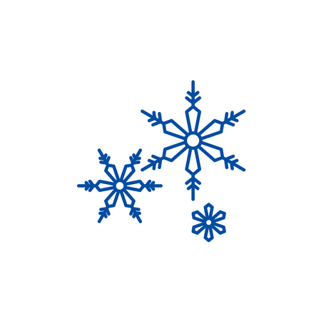 Snowflakes line concept icon. Snowflakes flat  vector website sign, outline symbol, illustration.