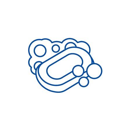 Soap line concept icon. Soap flat  vector website sign, outline symbol, illustration. Foto de archivo - 119920833